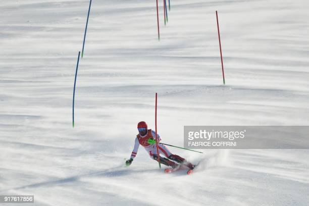 TOPSHOT Austria's Marcel Hirscher competes in the Men's Alpine Combined Slalom at the Jeongseon Alpine Center during the Pyeongchang 2018 Winter...