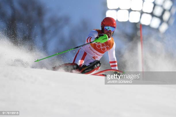 Austria's Marcel Hirscher competes in the Men's Alpine Combined Slalom at the Jeongseon Alpine Center during the Pyeongchang 2018 Winter Olympic...