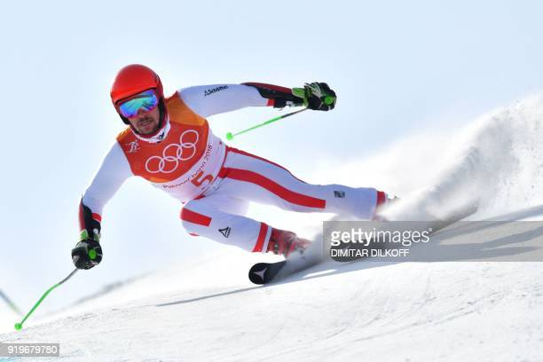 Austria's Marcel Hirscher competes in the Men's Giant Slalom at the Jeongseon Alpine Center during the Pyeongchang 2018 Winter Olympic Games in...