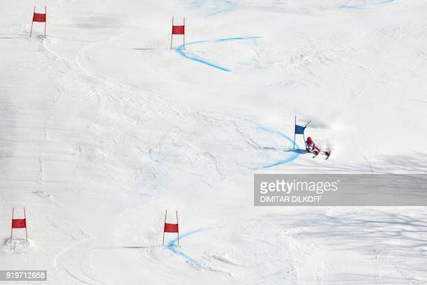 TOPSHOT Austria's Marcel Hirscher competes in the Men's Giant Slalom at the Jeongseon Alpine Center during the Pyeongchang 2018 Winter Olympic Games...