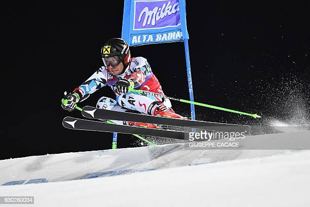 TOPSHOT Austria's Marcel Hirscher competes in the Men's Parallel Giant Slalom at the FIS Alpine World Cup in Alta Badia in the Italian Alps on...