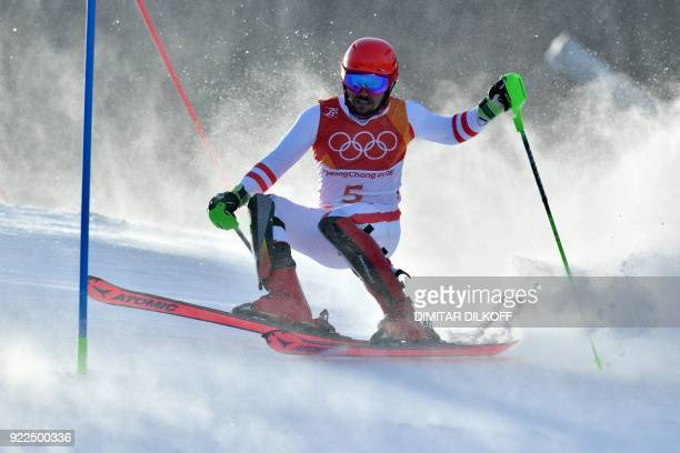 TOPSHOT Austria's Marcel Hirscher competes in the Men's Slalom at the Yongpyong Alpine Centre during the Pyeongchang 2018 Winter Olympic Games in...