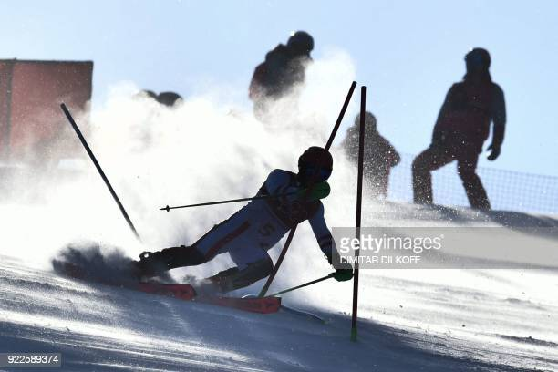 Austria's Marcel Hirscher competes in the Men's Slalom at the Yongpyong Alpine Centre during the Pyeongchang 2018 Winter Olympic Games in Pyeongchang...