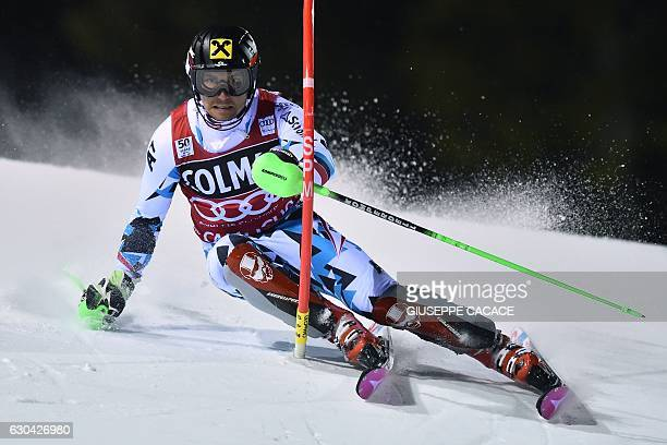 Austria's Marcel Hirscher competes in the Men's Slalom during the FIS Alpine World Cup on December 22 2016 in Madonna di Campiglio in the Italian...