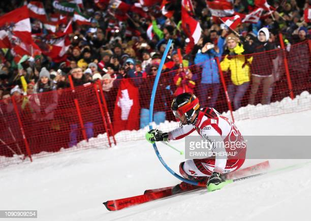 Austria's Marcel Hirscher competes in the men's Slalom event at the FIS Alpine Ski World Cup in Schladming Austria on January 29 2019 / Austria OUT