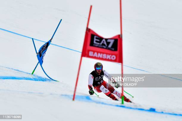 Austria's Marcel Hirscher competes in the men's SuperG combined event of the FIS Alpine Ski World Cup in Bansko Bulgaria on February 22 2019