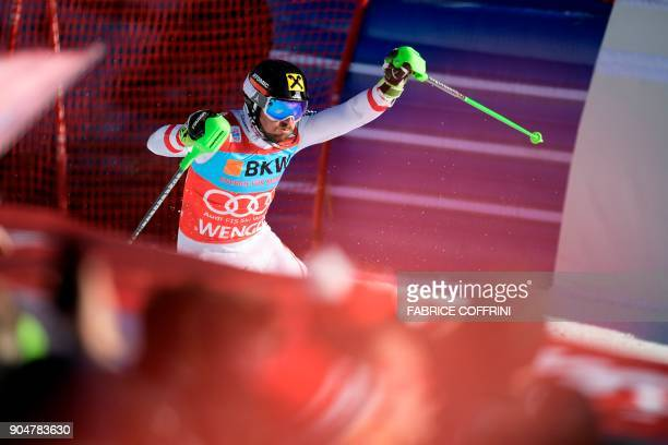 Austria's Marcel Hirscher competes in the second run of the men's Slalom race at the FIS Alpine Skiing World Cup in Wengen on January 14 2018 / AFP...