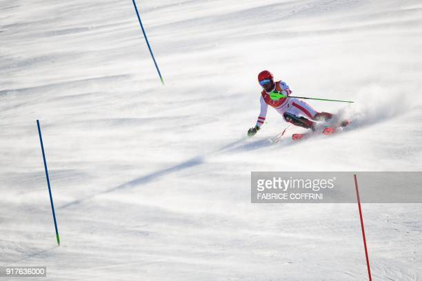 TOPSHOT Austria's Marcel Hirscher conpetes in the Men's Alpine Combined Slalom at the Jeongseon Alpine Center during the Pyeongchang 2018 Winter...