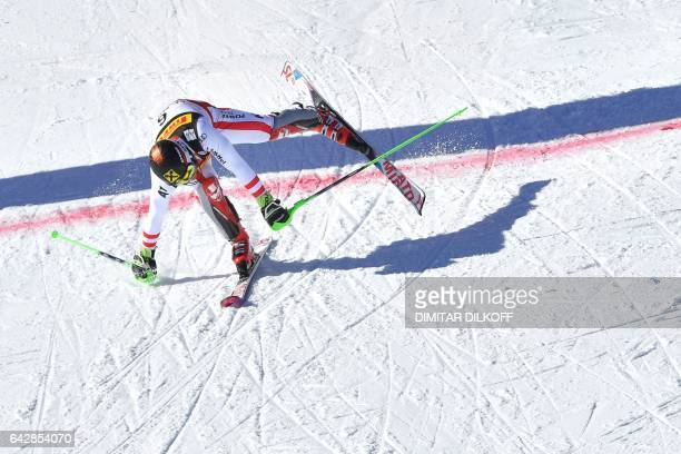 Austria's Marcel Hirscher crosses the finish line during the second run of the men's slalom race at the 2017 FIS Alpine World Ski Championships in St...