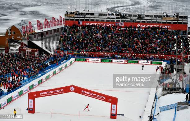 Austria's Marcel Hirscher crosses the finish line to win the men's slalom event at the 2019 FIS Alpine Ski World Championships at the National Arena...