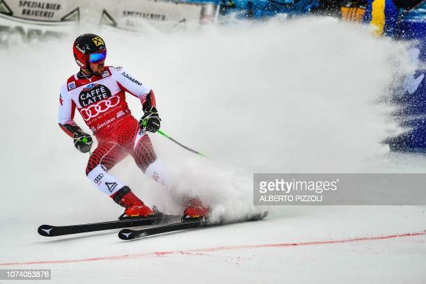 TOPSHOT Austria's Marcel Hirscher crosses the finish of the second run of the FIS Alpine World Cup Men Giant Slalom on December 16 2018 in Alta Badia...