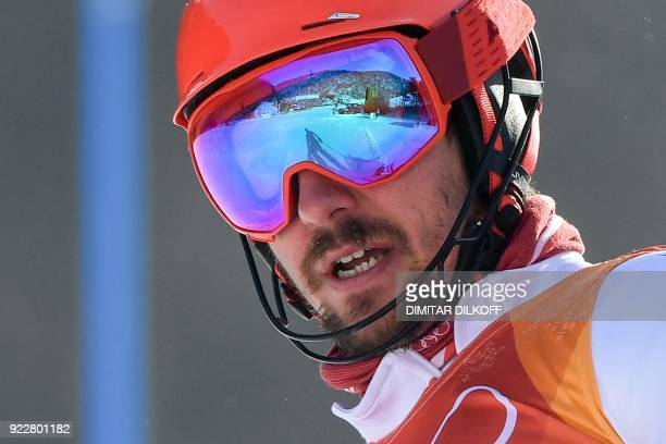 TOPSHOT Austria's Marcel Hirscher looks on after missing a gate during the first run of the Men's Slalom at the Yongpyong Alpine Centre during the...