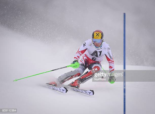 Austria's Marcel Hirscher races down the course during the men's Slalom on the third day of the famous Hahnenkamm at the FIS SKI World Cup in...