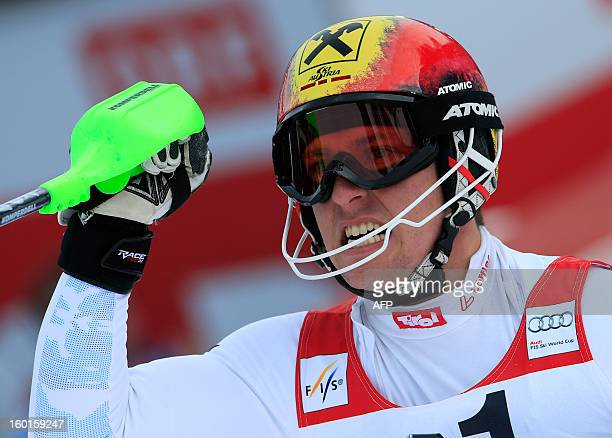 Austria's Marcel Hirscher reacts after competing at the second run of the FIS World Cup men's slalom race on January 27 2013 in Kitzbuehel Austrian...
