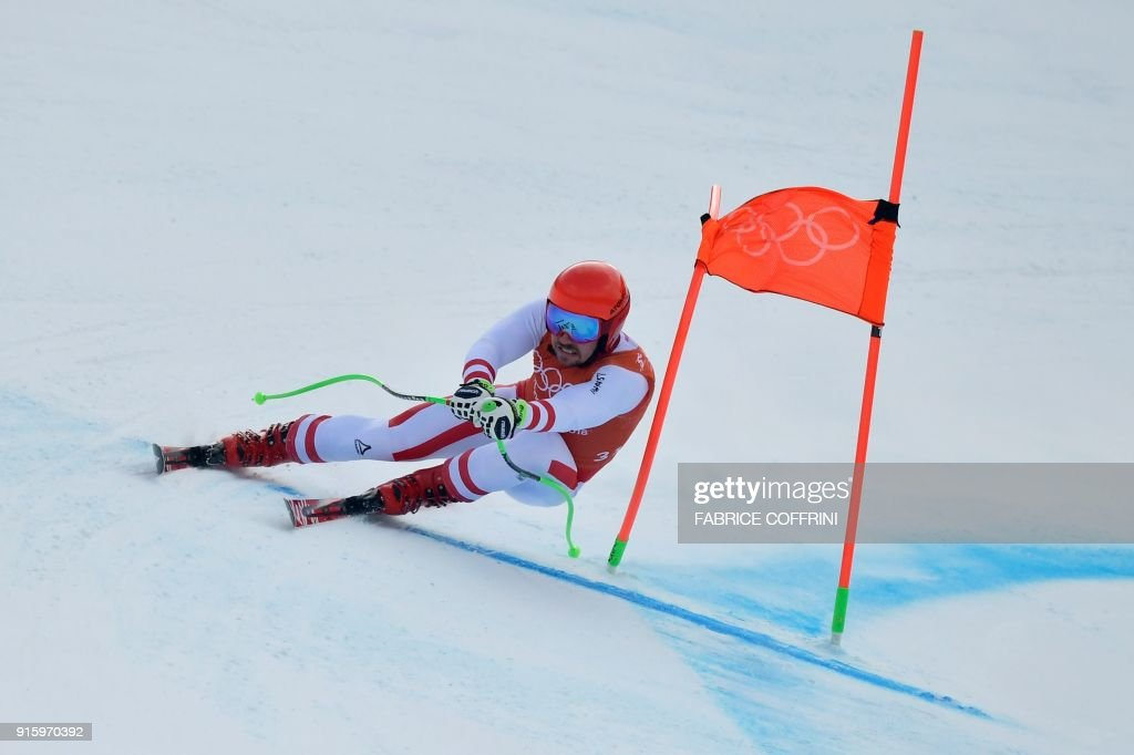 Austria's Marcel Hirscher takes part in the Men's Downhill 2nd training at the Jeongseon Alpine Center during the Pyeongchang 2018 Winter Olympic Games in Pyeongchang on February 9, 2018. / AFP PHOTO / Fabrice COFFRINI