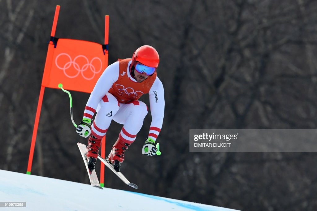 Austria's Marcel Hirscher takes part in the Men's Downhill 2nd training at the Jeongseon Alpine Center during the Pyeongchang 2018 Winter Olympic Games in Pyeongchang on February 9, 2018. / AFP PHOTO / Dimitar DILKOFF
