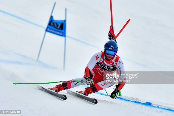 Austria's Marco Schwarz competes during the men's SuperG combined event of the FIS Alpine Ski World Cup in Bansko on February 22 2019