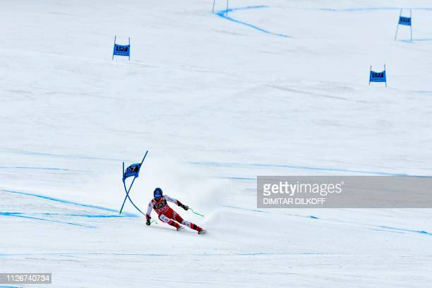 TOPSHOT Austria's Marco Schwarz competes during the men's SuperG combined event of the FIS Alpine Ski World Cup in Bansko on February 22 2019