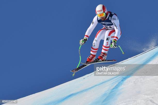 Austria's Marco Schwarz competes in the downhill race of the men's Alpine Combined event at the 2017 FIS Alpine World Ski Championships in St Moritz...