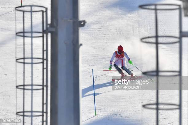Austria's Marco Schwarz competes in the Men's Alpine Combined Slalom at the Jeongseon Alpine Center during the Pyeongchang 2018 Winter Olympic Games...