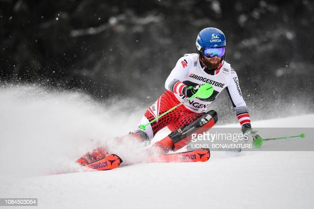Austria's Marco Schwarz competes in the slalom race of the Men's Alpine Combined competition during the FIS Alpine Ski world Cup on January 18 2019...