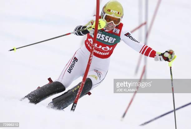 Austria's Marlies Schild competes in slalom of women's combined during alpine FIS World Cup in Altenmarkt-Zauchensee 14 January 2007. Julia Mancuso...