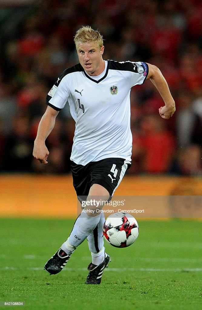 Austrias Martin Hinteregger during the FIFA 2018 World Cup Qualifier between Wales and Austria at Cardiff City Stadium on September 2, 2017 in Cardiff, Wales.
