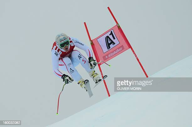 Austria's Matthias Mayer competes during the men's World Cup SuperG on January 25 2013 in Kitzbuehel AFP PHOTO / OLIVIER MORIN