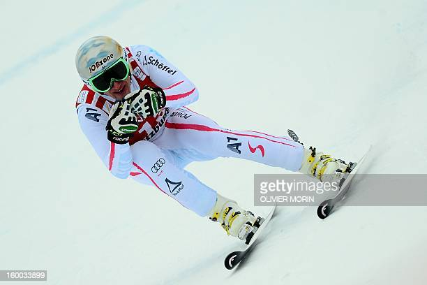 Austria's Matthias Mayer competes during the men's World Cup SuperG on January 25 2013 in Kitzbuehel Norway's Aksel Lund Svindal won the event ahead...