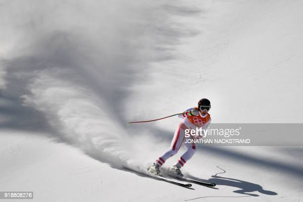 TOPSHOT Austria's Matthias Mayer competes in the Men's Super G at the Jeongseon Alpine Center during the Pyeongchang 2018 Winter Olympic Games in...