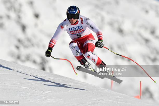 TOPSHOT Austria's Matthias Mayer performs during a training run for the men's Downhill event at the 2019 FIS Alpine Ski World Championships at the...