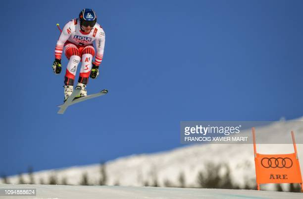 TOPSHOT Austria's Matthias Mayer races during a training run for the men's Downhill event of the 2019 FIS Alpine Ski World Championships at the...