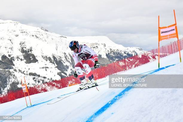 Austria's Matthias Mayer takes part in the training run for the men's downhill race of the FIS Alpine Skiing World Cup in Lauberhorn in Wengen on...