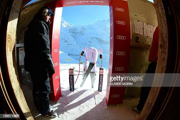 Austria's Mattias Mayer takes the start during the Men's World cup Downhill training on January 16 2012 in Wengen AFP PHOTO / OLIVIER MORIN