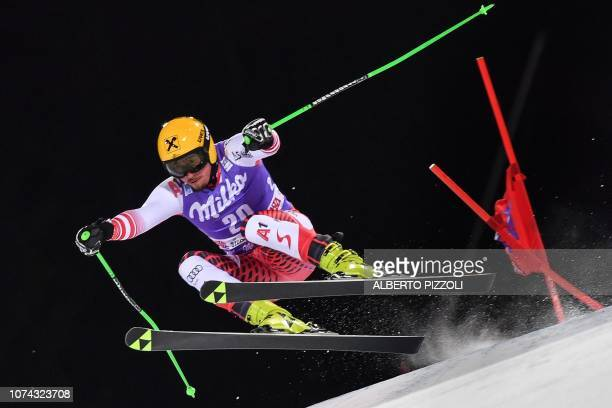 Austria's Max Franz competes in the 1/16th final of the FIS Alpine World Cup Men's Parallel Giant Slalom nightrace on December 17, 2018 in Alta Badia.