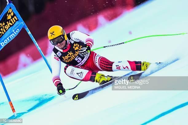 Austria's Max Franz competes in the FIS Alpine World Cup Men Super G on December 29 2018 in Bormio Italian Alps
