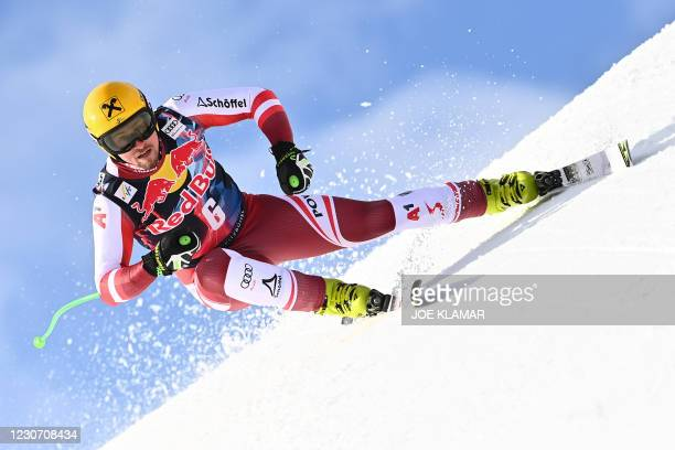 Austria's Max Franz races during a training session of the men's downhill event at the FIS Alpine Ski World Cup in Kitzbuehel, Austria, on January...