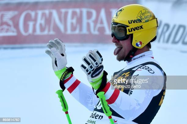 Austria's Max Franz reacts after competing in the FIS Alpine World Cup Men Downhill on December 16 2017 in Val Gardena Groeden Italian Alps / AFP...