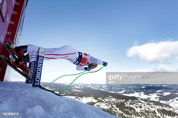 Austria's Max Franz starts during the men's downhill training at the FIS Ski World Cup on March 1 2012 in Kvitfjell Norway AFP PHOTO / DANIEL SANNUM...