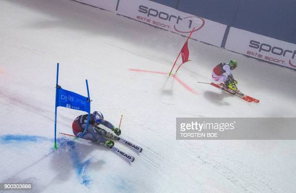 Austria´s Michael Matt competes against Alexis Pinturault of France during the FIS Alpine World Cup men´s parallel slalom in Oslo January 1 2018 /...