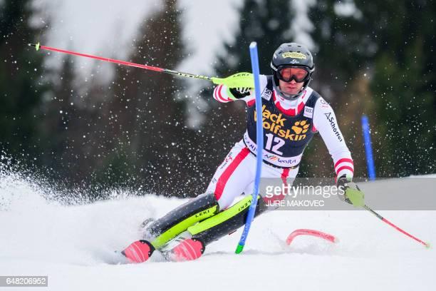 Austria's Michael Matt competes in the first run of the FIS World Cup men's slalom race in Kranjska Gora on March 5 2017 / AFP PHOTO / Jure MAKOVEC