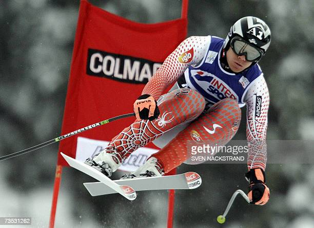 Austria's Michael Walchhofer jumps on his way to a fourth best time in the downhill of the super-combined WC event in Kvitfjell, Norway 09 March...