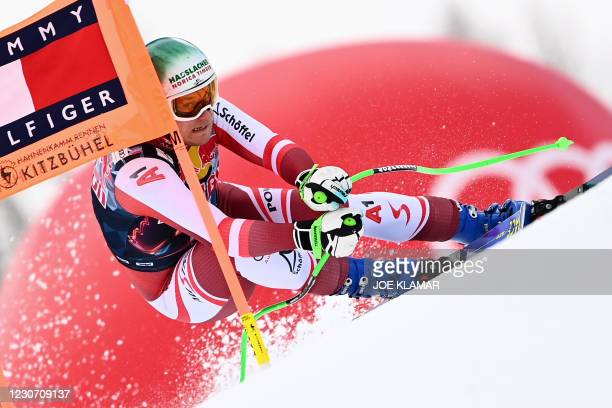 Austria's Otmar Striedinger races during a training session of the men's downhill event at the FIS Alpine Ski World Cup in Kitzbuehel, Austria, on...