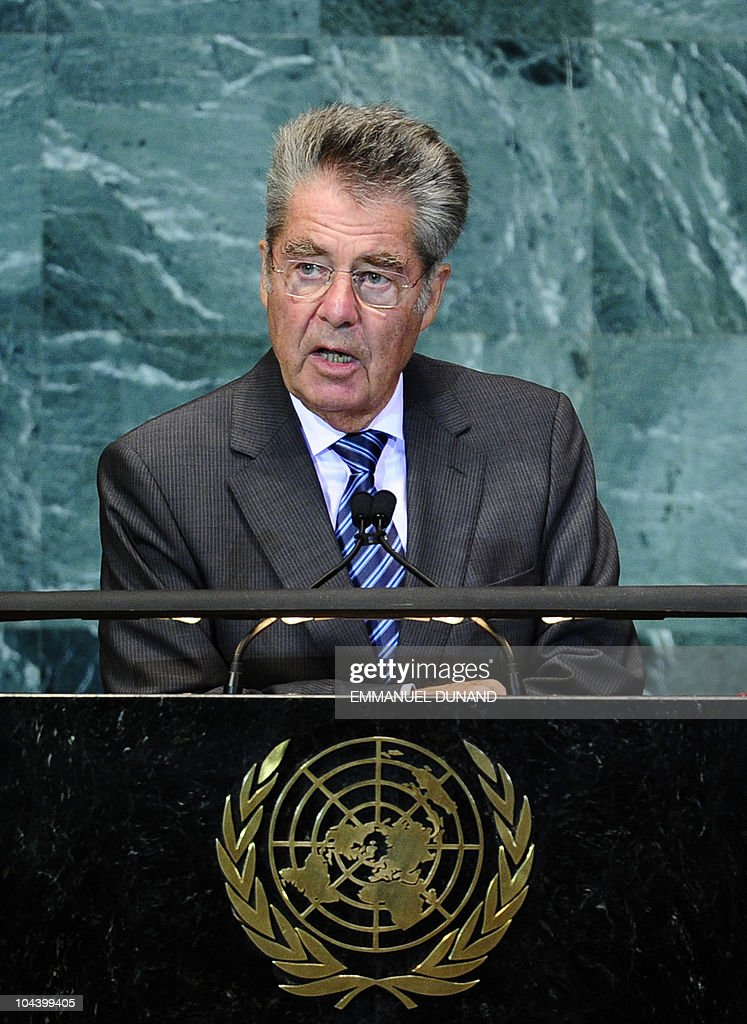 Austria's President Heinz Fischer addresses the 65th General Assembly at the United Nations headquarters in New York, September 24, 2010. AFP PHOTO/Emmanuel Dunand
