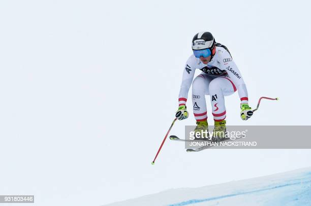 Austria's Ramona Siebenhofer competes in the Women's Downhill of the FIS World Cup final event in Aare Sweden on March 14 2018 / AFP PHOTO / Jonathan...
