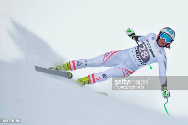 Austria's Ricarda Haaser competes in the Ladies' SuperG race during the FIS Alpine Skiing World Cup in St Moritz on December 9 2017 / AFP PHOTO /...