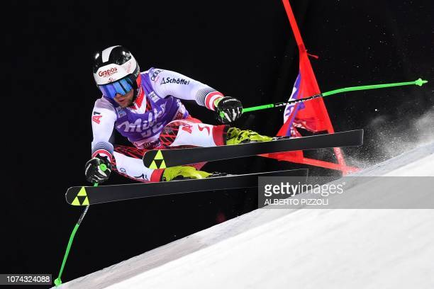 Austria's Roland Leitinger competes in the 1/16th final of the FIS Alpine World Cup Men's Parallel Giant Slalom nightrace on December 17, 2018 in...