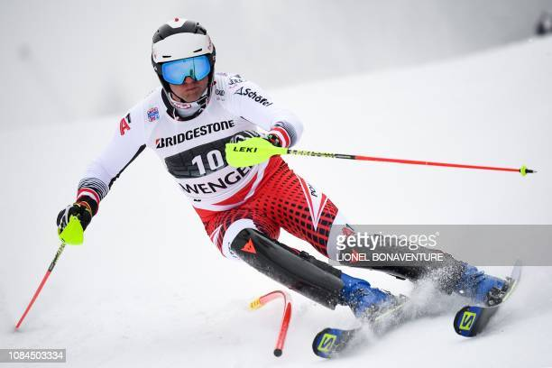 Austria's Romed Baumann competes in the slalom race of the Men's Alpine Combined competition during the FIS Alpine Ski world Cup on January 18 2019...