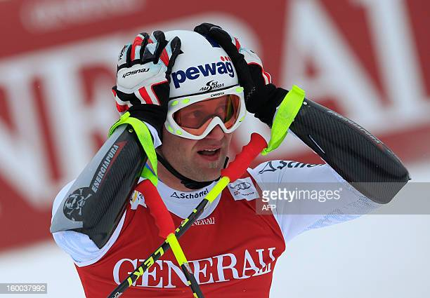 Austria's Romed Baumann reacts after competing in the men's World Cup SuperG on January 25 2013 in Kitzbuehel AFP PHOTO / ALEXANDER KLEIN