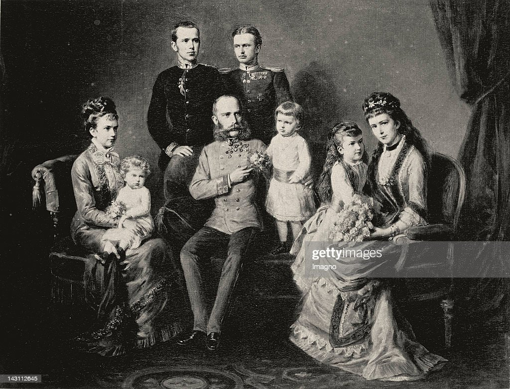 Austria's Royal family. Emperor Franz Joseph, Empress Elisabeth and their children Rudolf, Marie Valerie and Gisela. The latter with her husband Leopold of Bavaria and two children. Photograph after a brush painting by Georg Decker. Vienna. Arou : News Photo